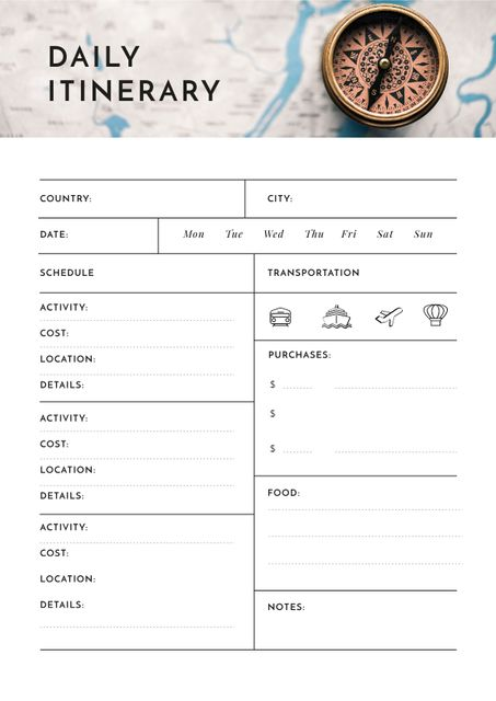 Daily Itinerary with Compass Schedule Plannerデザインテンプレート