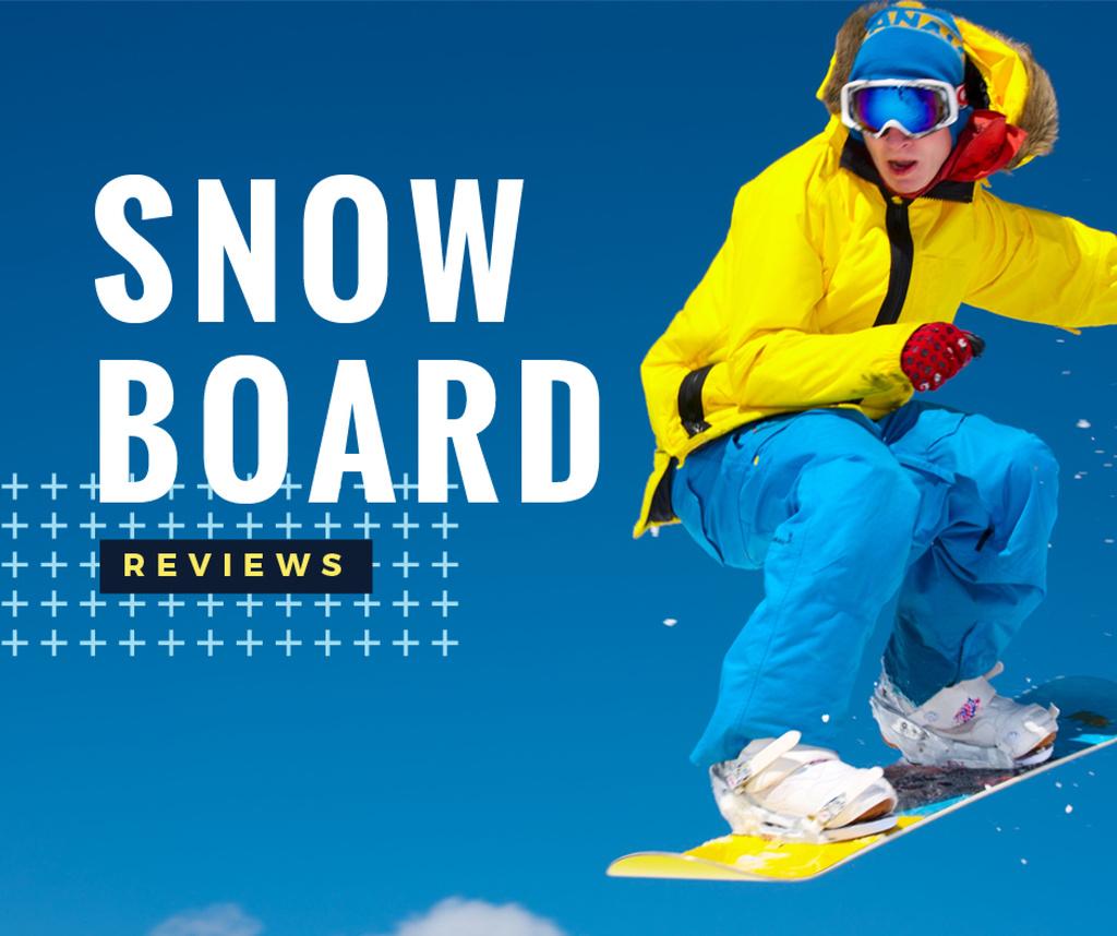 Snowboard Reviews Banner Facebook Post 940x788px Template Design