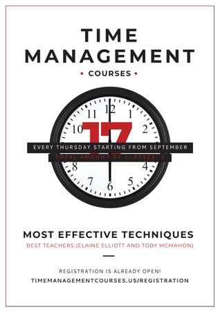 Ontwerpsjabloon van Poster van Time management courses
