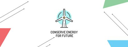 Plantilla de diseño de Conserve Energy with Wind Turbine Icon Facebook cover