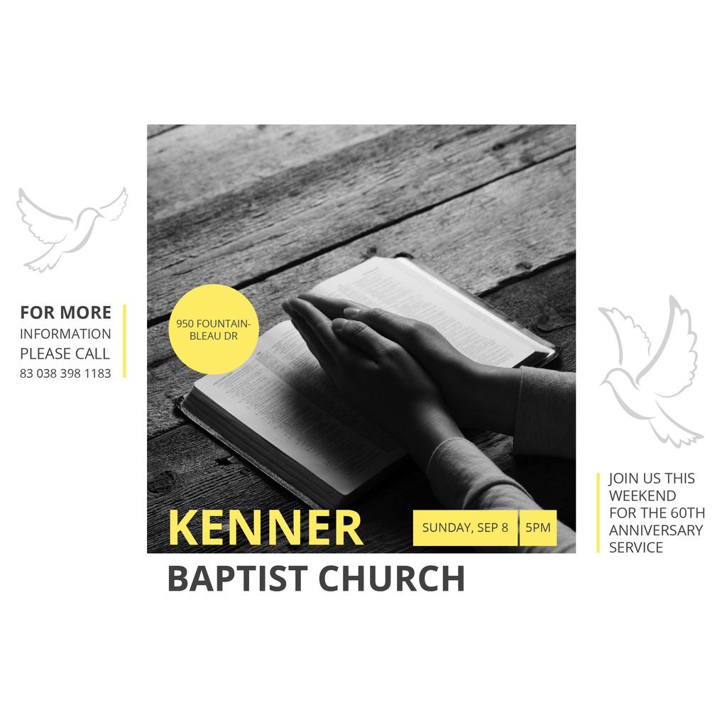 Prayer Invitation Hands on Bible Book — Créer un visuel