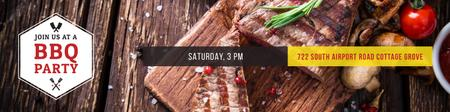 Plantilla de diseño de BBQ party Invitation Twitter