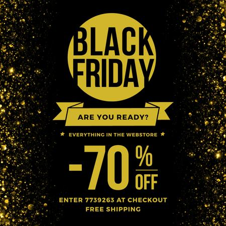 Ontwerpsjabloon van Instagram AD van Black Friday Sale on Golden glitter