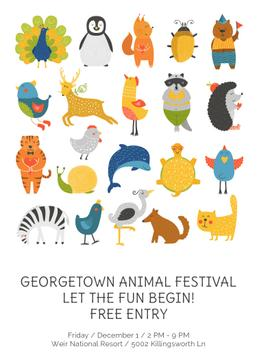 Animal festival poster with cute cartoon animals