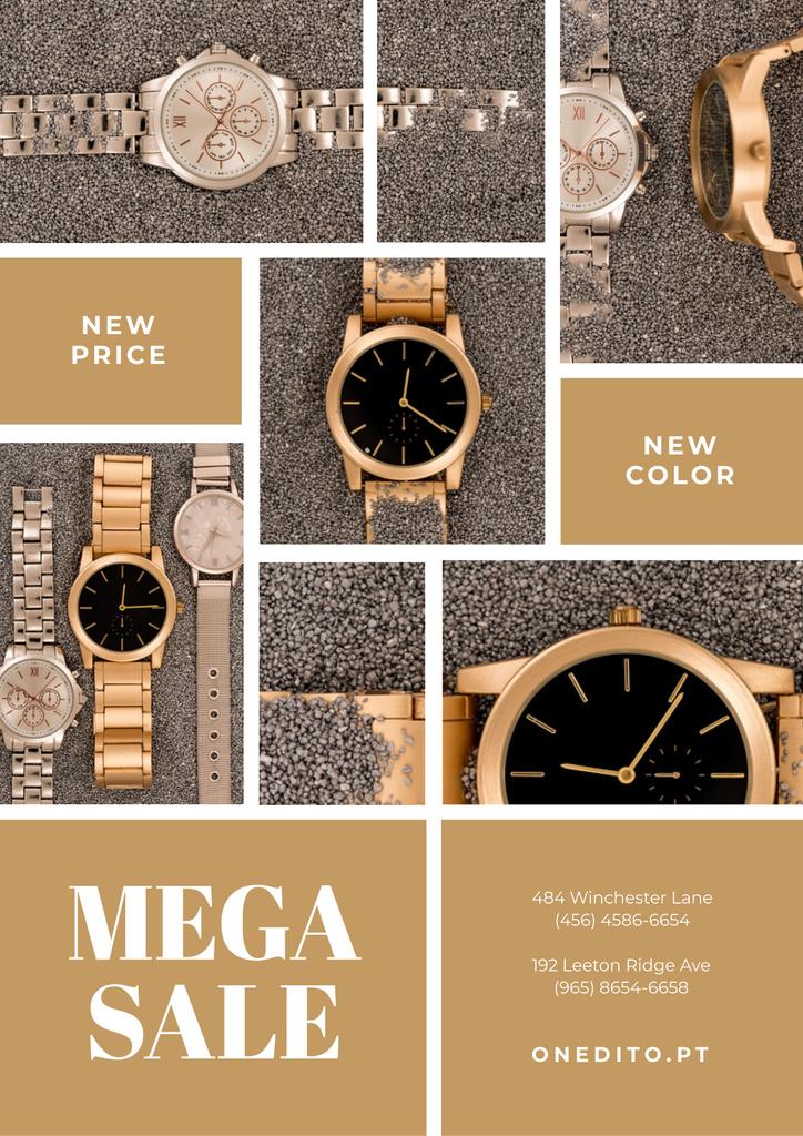 Szablon projektu Luxury Accessories Sale with Golden Watch Poster