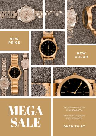 Plantilla de diseño de Luxury Accessories Sale with Golden Watch Poster