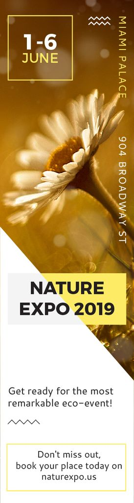 Nature Expo Announcement Blooming Daisy Flower Skyscraper Design Template