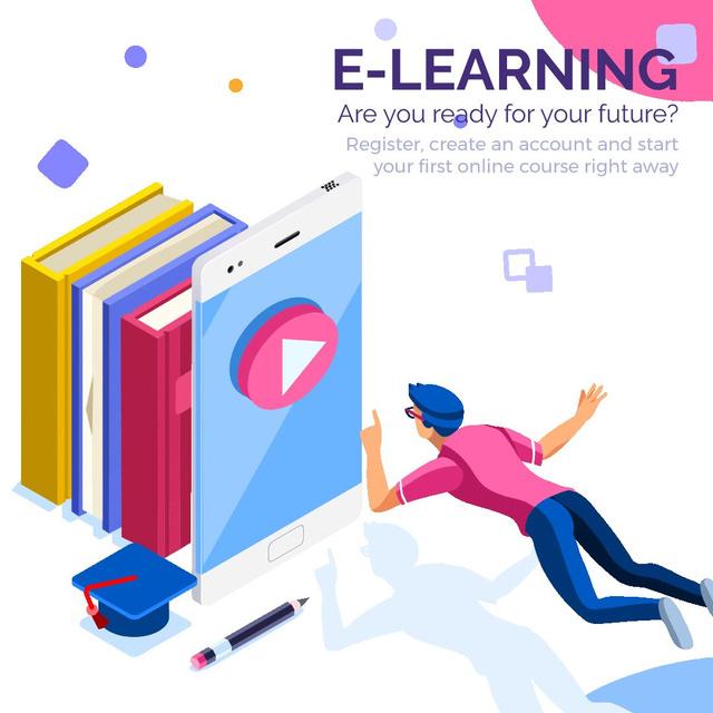 Man reading e-books Animated Post – шаблон для дизайна