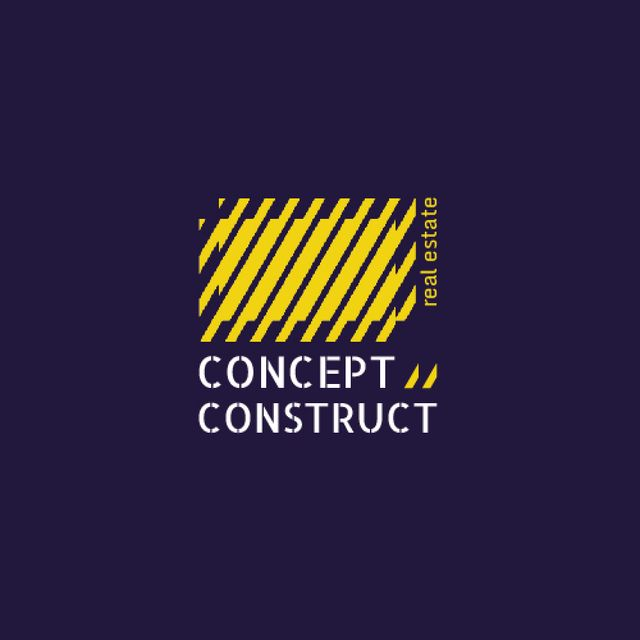 Construction Company Ad with Yellow Lines Texture Animated Logo Design Template
