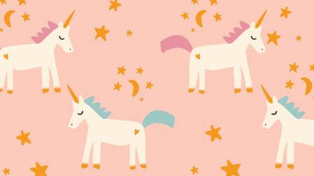 Plantilla de diseño de Magical Unicorns pattern Zoom Background