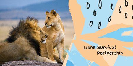 Designvorlage Wild lions in nature für Twitter