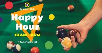 Billiard Club ad Balls on Table