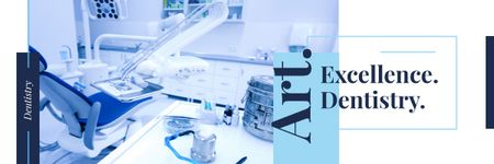 Ontwerpsjabloon van Email header van Dentistry Advertisement with Office Interior in Blue