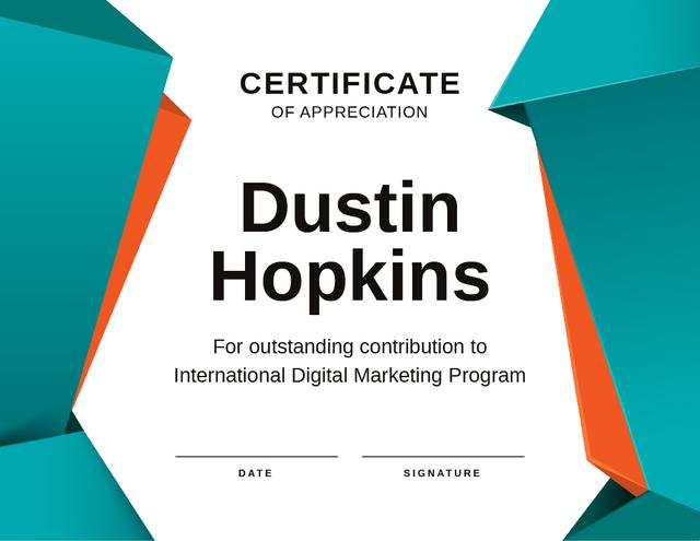 Marketing Program contribution Appreciation Certificateデザインテンプレート