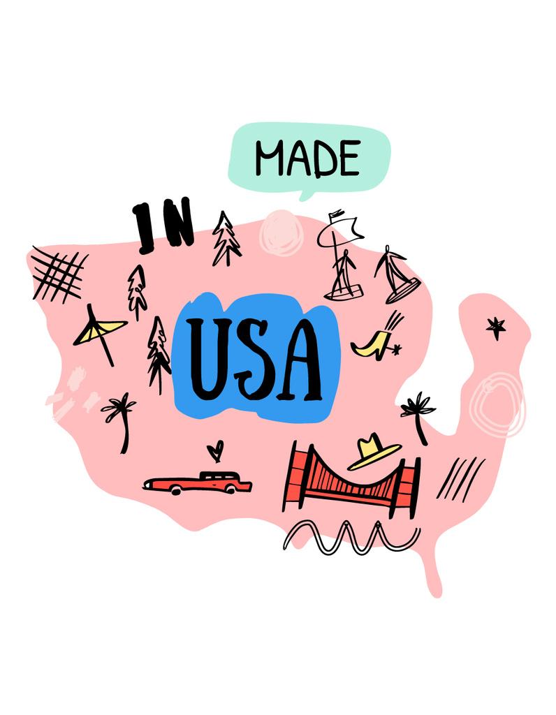 USA Travel Spots and Activities T-Shirt – шаблон для дизайну