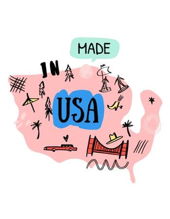 Ontwerpsjabloon van T-Shirt van USA Travel Spots and Activities