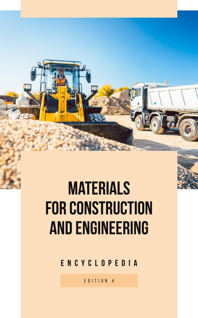 Bulldozer on Construction Site Book Cover Tasarım Şablonu