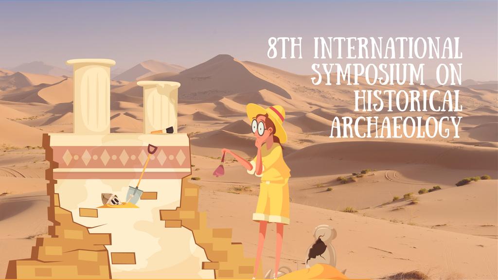 Archaeologist wiping dust on ruins — Crear un diseño