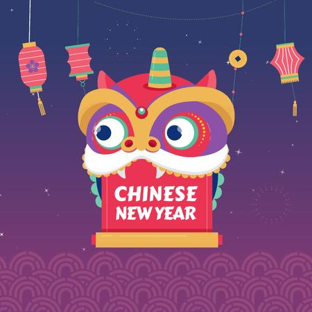 Chinese New Year dragon Animated Post – шаблон для дизайна