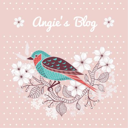 Ontwerpsjabloon van Instagram AD van Blog Illustration Cute Bird on Pink