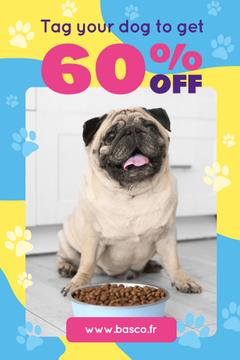 Pet Supplies Sale with Pug by Dog Food | Pinterest Template
