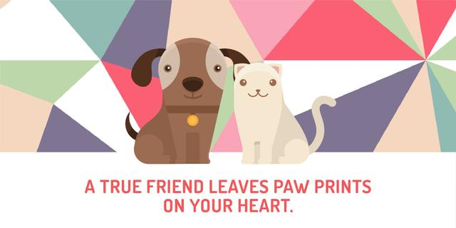 Pets Quote with Cute Dog and Cat Twitter Modelo de Design