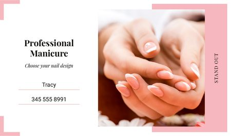 Template di design Female hands with manicure Business card