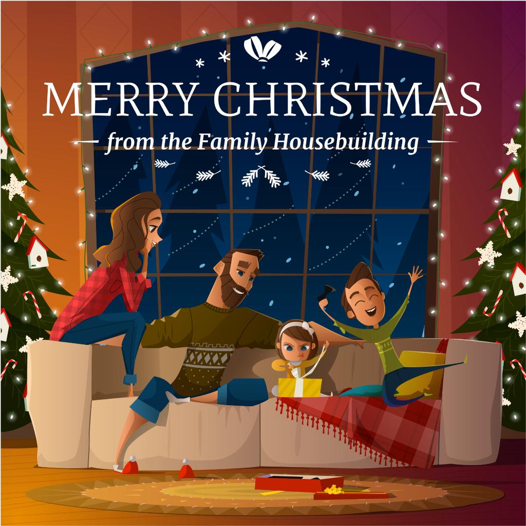 Merry Christmas Greeting Family with Kids by Fir Tree — Modelo de projeto