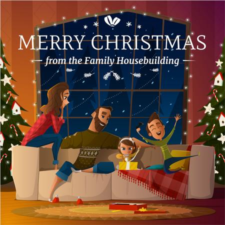 Ontwerpsjabloon van Instagram AD van Merry Christmas Greeting Family with Kids by Fir Tree