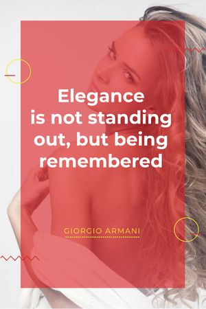 Elegance quote with Young attractive Woman Tumblr Tasarım Şablonu
