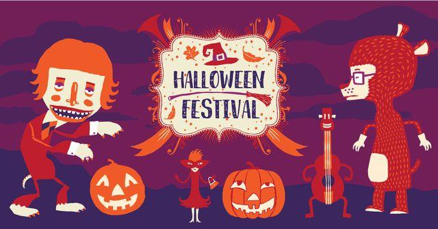 Halloween festival poster Facebook AD Modelo de Design