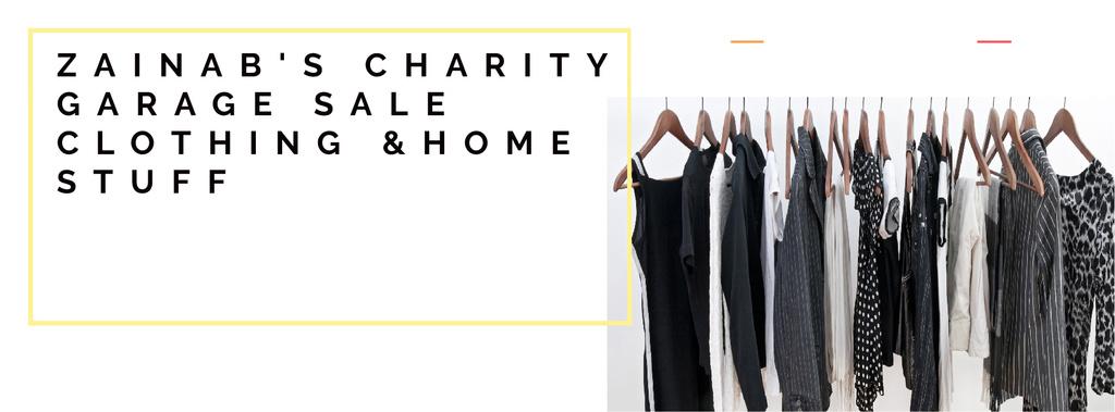 Charity Sale Announcement with Black Clothes on Hangers — Maak een ontwerp