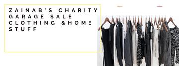 Charity Sale Announcement Black Clothes on Hangers | Facebook Cover Template