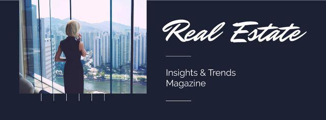 Szablon projektu Real Estate Agent Talking on Phone Facebook cover