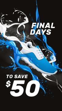 Sneaker Sale Announcement in Blue and White
