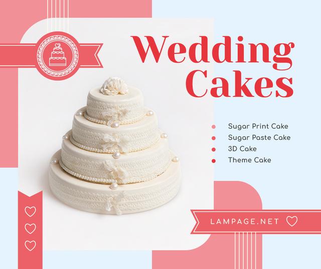 Ontwerpsjabloon van Facebook van Wedding offer big White Cake