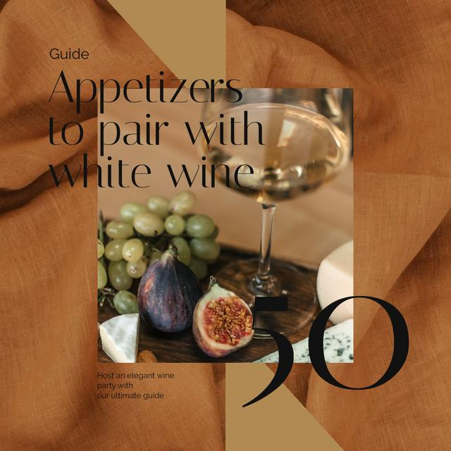 Plantilla de diseño de Winery Offer with White Wine with Fruits Animated Post