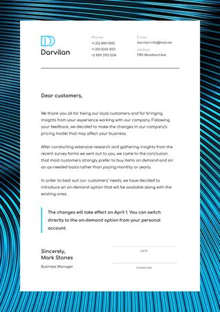 Ontwerpsjabloon van Letterhead van Business Company changes notification