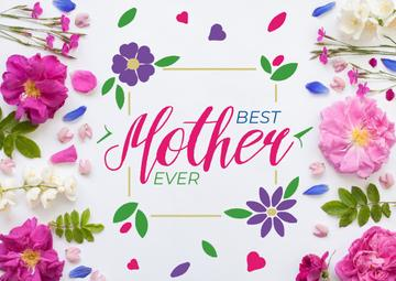 Mother's Day Greeting in Frame with tender flowers