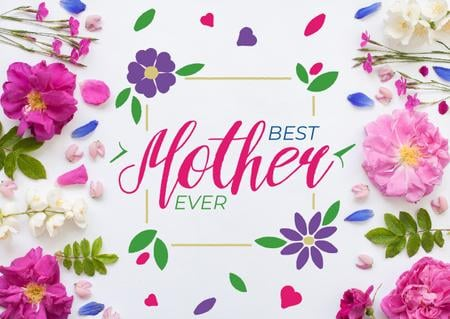 Mother's Day Greeting in Frame with tender flowers Card Modelo de Design