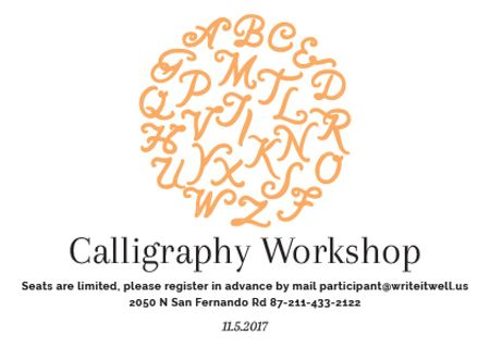 Calligraphy Workshop Announcement with Letters in Orange Postcard Modelo de Design