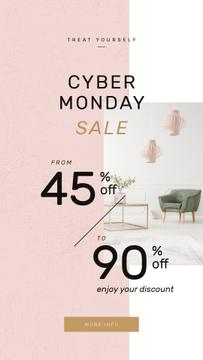Cyber Monday Sale with Cozy interior in light colors