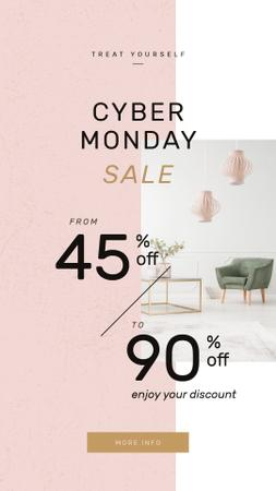 Template di design Cyber Monday Sale with Cozy interior in light colors Instagram Story