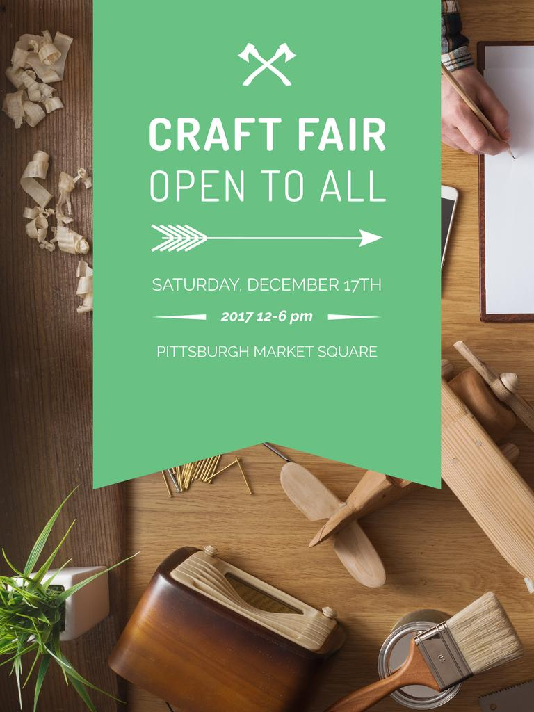 Craft Fair Announcement Wooden Toy and Tools Poster US Design Template