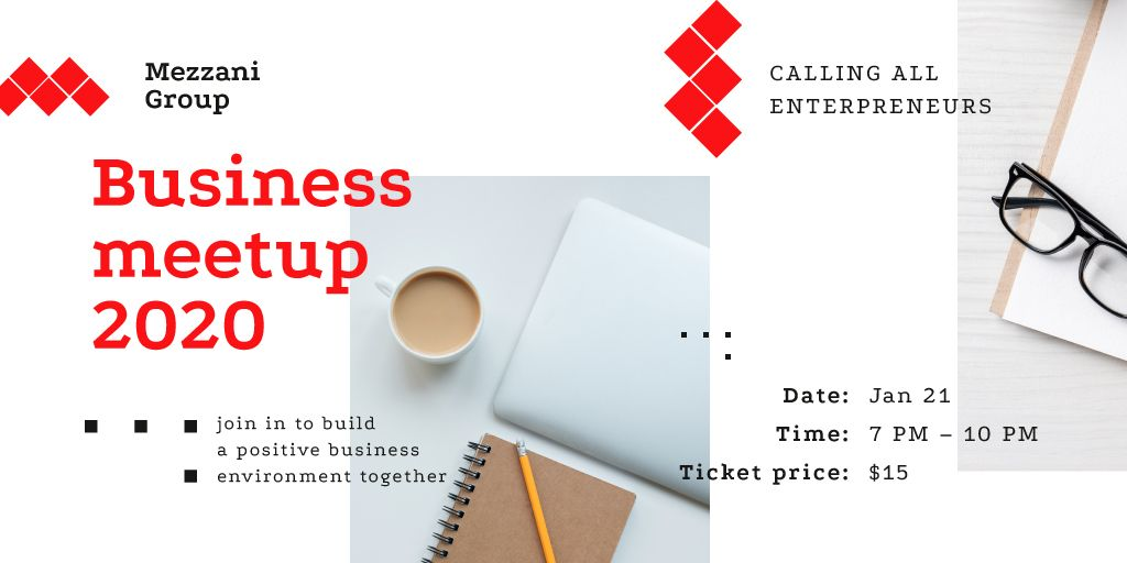 Business Meetup Tablet and Coffee on Table — Maak een ontwerp