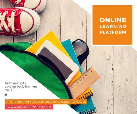 Online learning platform stationery Facebook Modelo de Design