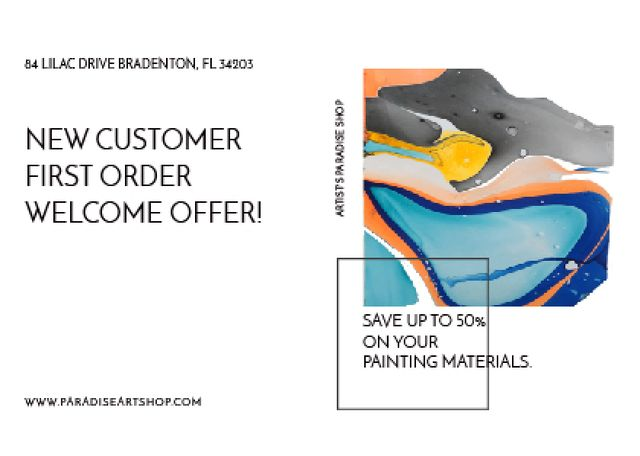 Art Painting with Colourful Paint Blots Postcard Design Template