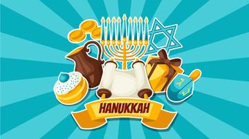 Happy Hanukkah Greeting Religions Symbols in Blue