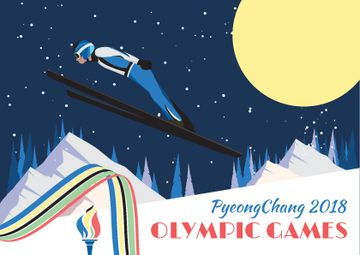 Winter Olympic Games Skier Jumping | Postcard Template