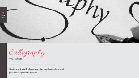 Plantilla de diseño de Calligraphy Workshop Announcement Decorative Letters Title